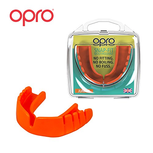 OPRO Mouthguard Snap-Fit Gum Shield for Ball, Combat and Stick Sports - No Boiling or Fitting Required -18 Month Warranty (Adult and Kids Sizes)- Orange