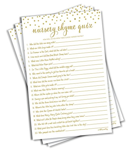 Nursery Rhyme Quiz Game - Baby Shower Games - Gold Confetti (50-sheets) -