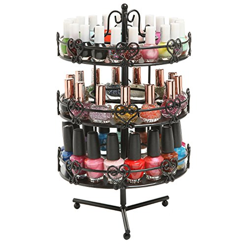 Sensational Mygift 3 Tier Salon Style Black Metal Spinning Carousel Nail Polish Display Rack Cosmetic Organizer Stand Interior Design Ideas Tzicisoteloinfo