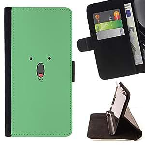 - Surprise Mint Green Comic Character - Estilo PU billetera de cuero del soporte del tir???¡¯???3n [solapa de cierre] Cubierta- For Apple Iphone 6 PLUS 5.5 ( Devil Case )