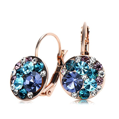 UPSERA Multi-color Round Lever-Back Earrings for Women Made with Swarovski Crystals Hypoallergenic Clip-On Pierced Drop Jewelry Graduation Gift for Her, Gift Pouch Included