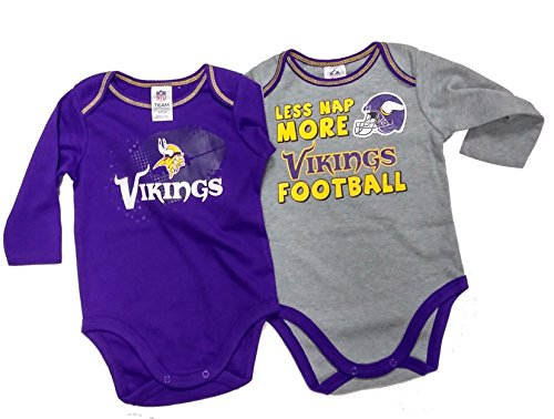 Gerber Childrenswear NFL Minnesota Vikings Boys Long Sleeve Bodysuit (2 Pack), 3-6 Months, Purple