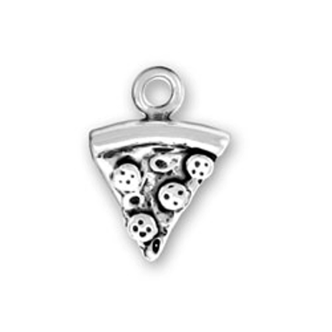 Sterling Silver Womens 1mm Box Chain 3D Small Pepperoni Pizza Slice Pendant Necklace