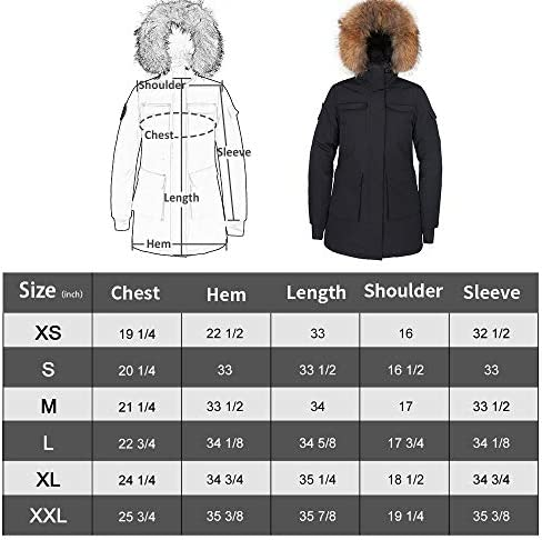 Women's Goose Down Mid Length Jacket Parka Waterproof Warm Winter Hooded Coat Arctic Military Jacket with Real Fur Hood