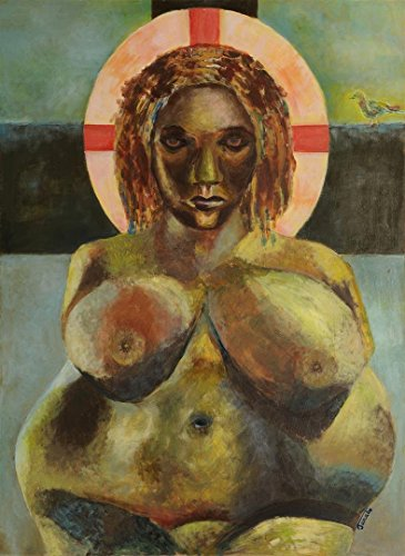 Black Madonna Erzulie Dantor Expressionist Woman Painting Figurative Original Unique Wall Art Genuine Hand Painted Oil Artwork Mother Earth Goddess Statue OOAK by SmartPolonia