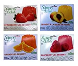 Simply Delish Sugar-Free Gluten-Free Natural Jel Dessert 4 Flavor Variety Bundle, (1) Each: Raspberry, Peach, Strawberry, and Orange (.7 Ounces)