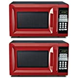 Hamilton Beach 0.7 cu ft Microwave Oven , features Child-safe lockout, 10 power levels (Red) (2 Pack)