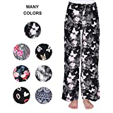 Buttery Soft Pajama Pants for Women - Floral Print Drawstring Casual Palazzo Lounge Pants Wide Leg for All Seasons (L, Butter-Floral)