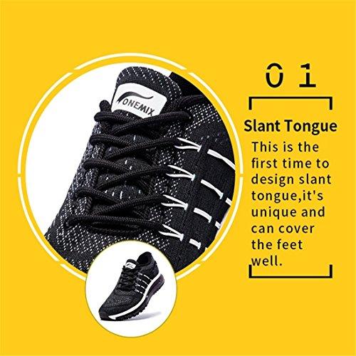 Con Speciale Onemix A Mesh Scarpe E Leggere In Corsa Sneakers Grigio Tongue Cuscino Da Uomo Traspirante Disegno D'aria Blu YrYq6