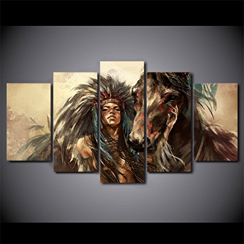 Indian Decor (Ancient Native American Indian Chief Wall Art Vintage Historic Painting Mystic Pictures Print On Canvas For Home Decor Framed for Living Room Giclee Framed Hooks Stretched Ready to Hang(50''Wx24''H))