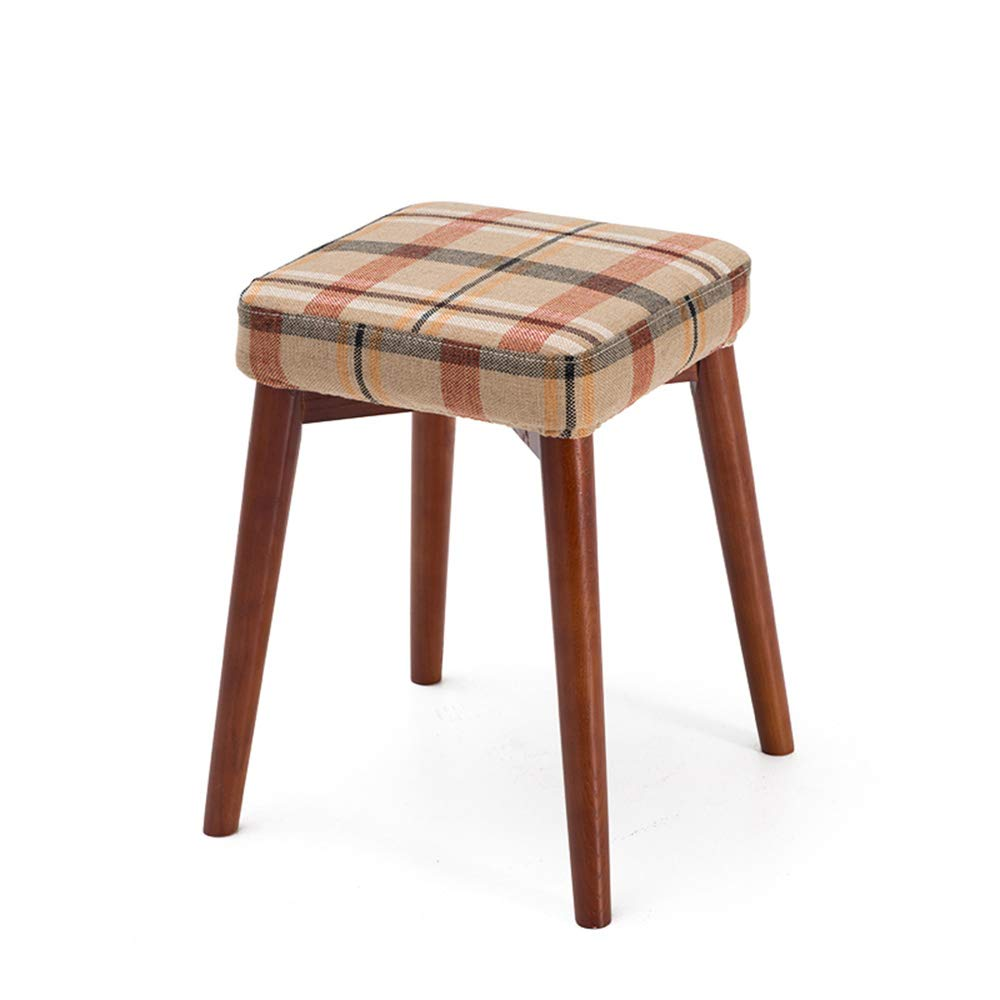 Red grid 3 Stackable Solid Wood Stools, Creative Dressing Stools, Dining Table Stools, High Resilience Mats, Space Saving, Beautiful and Lightweight