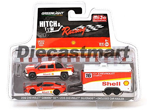 New GREENLIGHT 1:64 HITCH & TOW RACING 2015 Ford F-150 Pickup Truck &1966 Ford Bronco w/Flatbed Trailer Gulf Oil Hitch&Tow Racing Ed Diecast