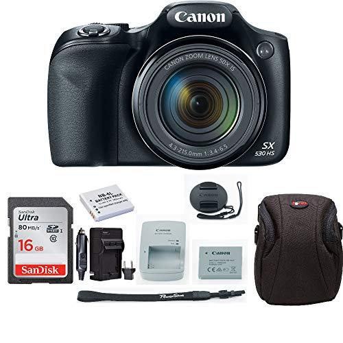 Canon Powershot SX530 Digital Camera (Black) with 16GB Card + Accessory Bundle