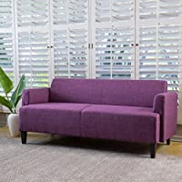 MidCent Three-Seat Fabric Sofa (Fuchsia)