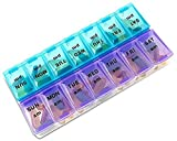 plastic box with snap lid - Pill Organizer Box with Snap Lids| 7-day Lot for Bigger Pills (7 Day )