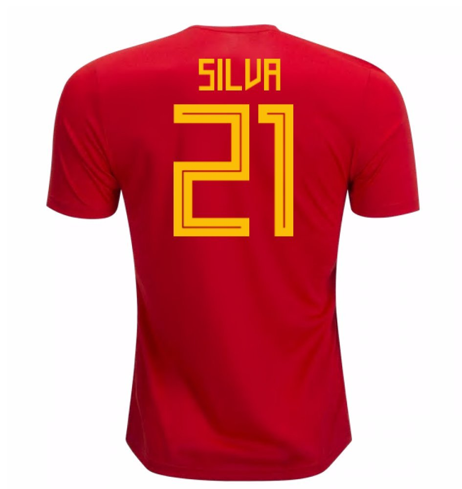 2018-19 Spain Home Football Soccer T-Shirt Trikot (David Silva 21) - Kids