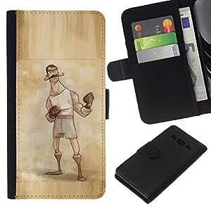 Planetar® Modelo colorido cuero carpeta tirón caso cubierta piel Holster Funda protección Samsung Galaxy A3 ( Boxer Retro Vintage Manly Man Gloves )