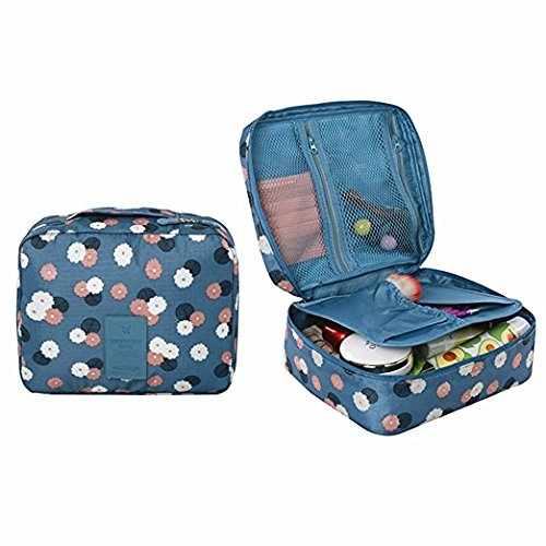 SHUYUE Travel Organizer Cosmetic Pouch Foldable Makeup Tote Bag Brush Pouch Toiletry Kit Women Jewelry Organizer Electronics Accessories Pockets (Mint Daisy)