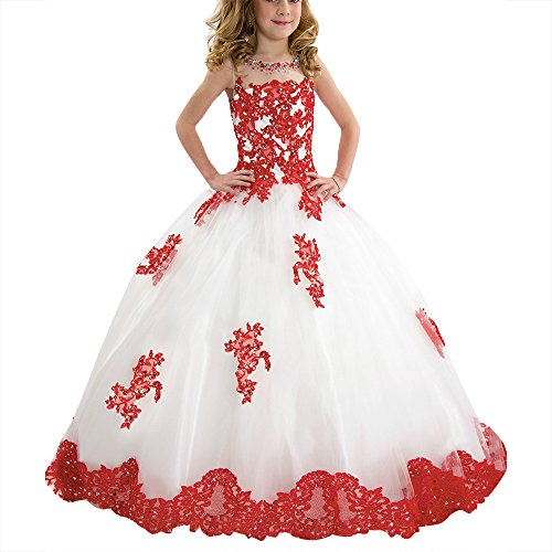 SHANGSHANGXI Girls Ball Gown Prom Dresses Red Applique White Pageant Princess Dress Floor (Halloween Glitz Pageant Dresses)