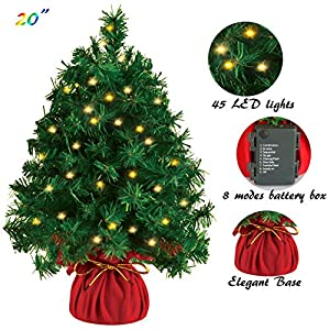 """Joiedomi 20"""" Tabletop Mini Christmas Tree Prelit with 45 Clear LED Lights(8 Light Modes), Best Home and Office Christmas Decorations"""