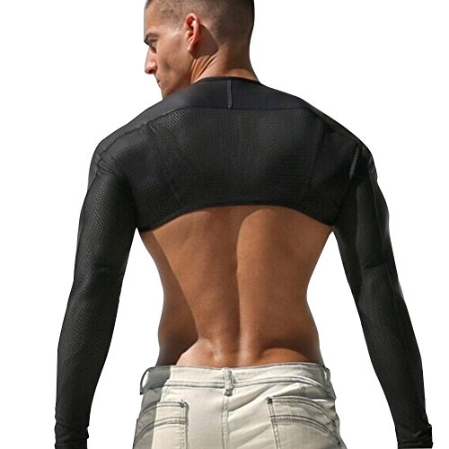 Free shipping igig mens long sleeve openwork jacket faux for Shirts for men with long arms