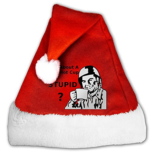 Hot Fuzz Fancy Dress Costume (DSFIEOHAT Nice Hot Cup Of Stupid Red Santa Hat Christmas Santa Hats For Adults Or Children)