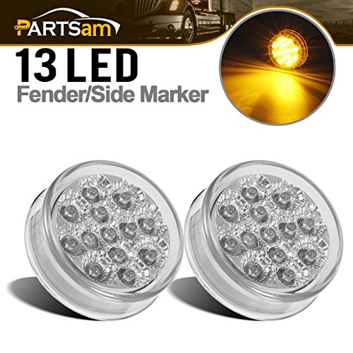 "Partsam 2 Pcs Sealed Mini-Flex 2.5"" Round LED Side Marker or ID Light 13 Diodes, Faceted Amber Clear Lens Trailer Truck Sidelights Round Led Lights"