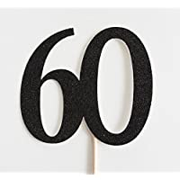 Black Glitter 60 Cake Topper, 60th Anniversary, Sixtieth Birthday, Sixty