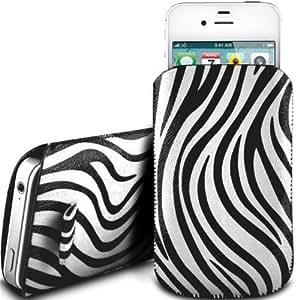 N4U Online - HTC One caso del tirón del cuero de primera calidad Zebra Diseño PU Tire Tab Case - Blanco