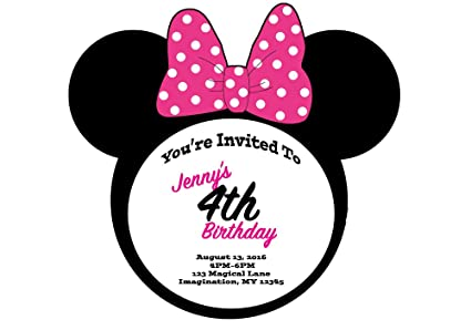 Amazon Com Minnie Mouse Themed Pink Bow Invitations 6pk Toys Games