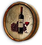 Personalized Wine Bottle with Grapes Quarter Barrel Sign