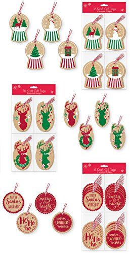 Christmas Gift Tags Pack of 48 Assorted Kraft Gift Tags 2.5