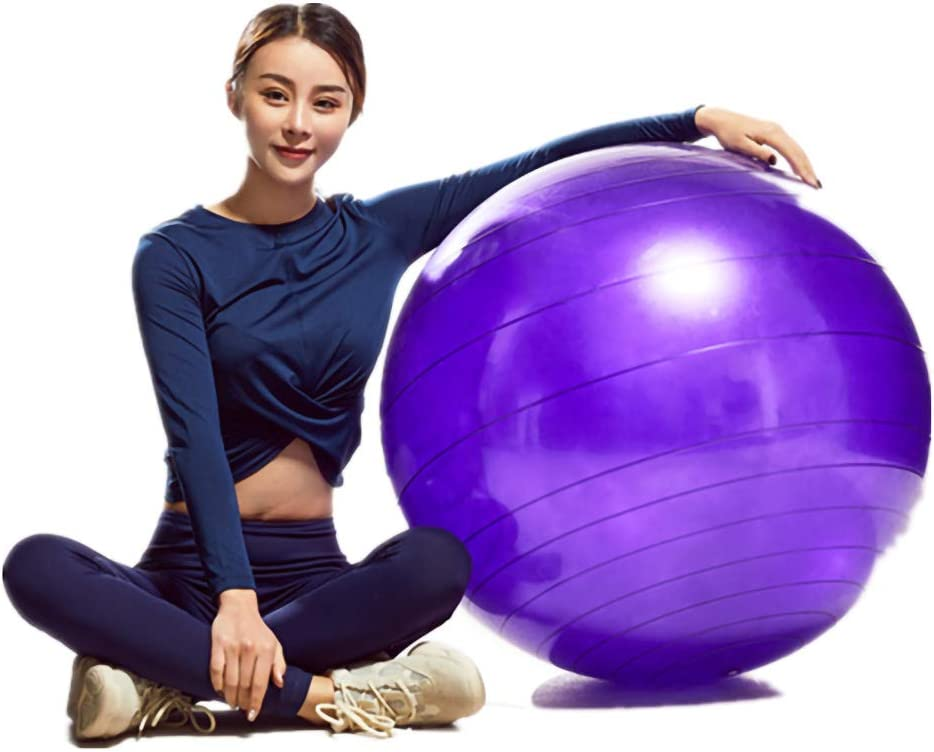 Professional Grade Anti Burst /& Slip Resistant Stability Balance for Yoga L(58-65cm) Workout with Quick Foot Pump 55-75cm Fullgaden Exercise Ball Purple