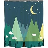 Orange Design Mountain Forest Moon Shower Curtain Plastic Hooks 71''x71'', Waterproof Mildew-Resistant Fabric Home…