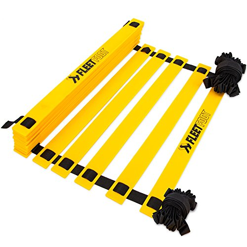 Fleetfoot Speed & Agility Training Ladder – 6, 10, 16, or 20 Rung Rope Equipment for Athletic Footwork & Sports Drills by Crown Sporting Goods (3m / 6 Rungs)