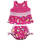 i play. Baby Girls' Bow Tankini Swimsuit with Built-In Absorbent Swim Diaper, Hot Pink Cabana, 12 Months