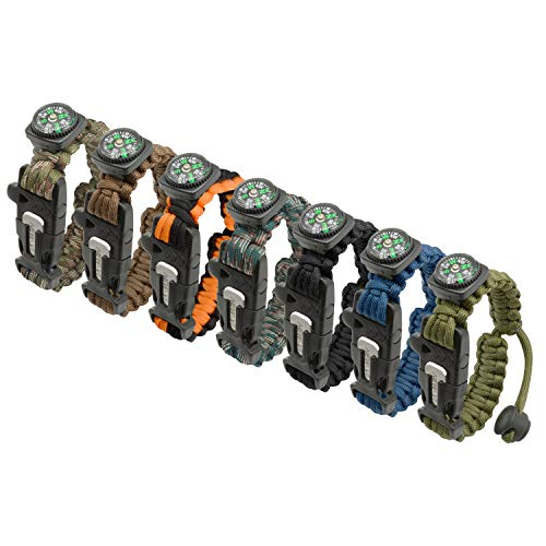 NEW-Vi Survival Bracelet, 5 in 1 Adjustable Survival Paracord Bracelet, Survival Gear Kit Includes Upgrade Compass, Loud Whistle, Fire Starter Hiking, Camping and Hunting-7 Packs