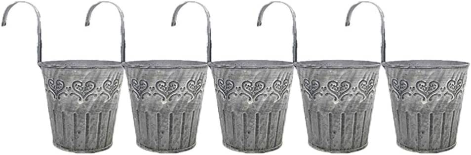 TOPBATHY 5pcs Vintage Hanging Flower Pots with Hook Balcony Planters Retro Metal Buckets Wall Hanging Planter Indoor Outdoor