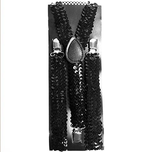 Black Sequin Suspenders -