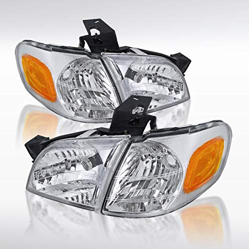 Autozensation For Chevy Venture Montana Silhouette Trans Chrome Headlights Corner Lamps