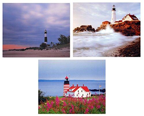 - Lighthouse Portland Maine Three Set 8x10 Picture Ocean Landscape Wall Decor Art Print Posters