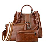 Handbags for Women Shoulder Bags Tote Satchel Hobo 3pcs Purse Set (Brown)