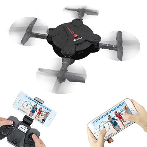 EACHINE E55 WiFi FPV Quadcopter With Camera High Hold Mode Foldable Pocket Drone RC Mini Nano Quadcopter Drone (Black)