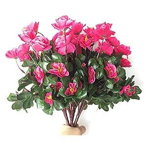 Lopkey Outdoor Indoor Silk Flower Artificial Red Azalea Bush,Rose Red 4pcs 1