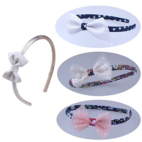 Baby Toddler Girls Hair Accessories Plastic Headbands With Flower Ribbon Boutique Bows Mixed Set (Boutique Ribbon Flower Bow Headband)