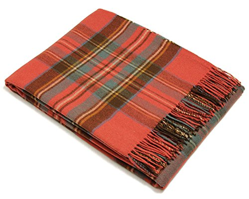 Bronte Throw Blanket - Tartan Throw - Merino Lambswool (Antique Royal Stewart) (Antique Blanket Wool)