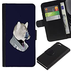 Planetar® Colorful Pattern Flip Wallet Leather Holster Protective Skin Case Cover For Apple (4.7 inches!!!) iPhone 6 ( Funny Hipster Bear )
