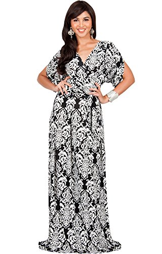 KOH KOH Plus Size Womens Long Lace Printed Formal Short Sleeve V-Neck Evening Casual Summer Spring Elegant Vintage Maternity Gown Gowns Maxi Dress Dresses, Black and White 2X 18-20