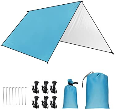 GROOFOO Camping de Lona 3 x 3m/3 x 4.45m, Camping Impermeable Lona con Cuerdas y Clavijas,Portátil Tarp de UV Protección para Acampar, Picnic, ...