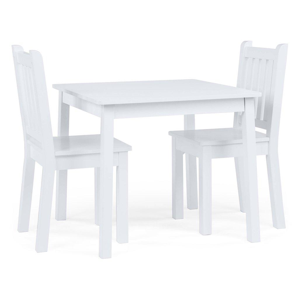 Tot Tutors TC741 Kids Wood Table and 2 Chairs Set, White